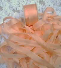 "100%PURE SILK RIBBON 1/2""[13MM] WIDE 5YDS  MISTY/PEACH"