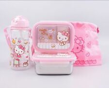 Hello Kitty Stainless 2 Layers Bento Lunch Box Food Container With Pouch Bottle