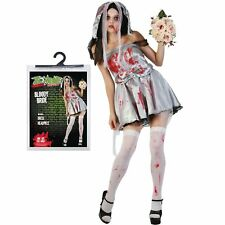 Halloween One Size Ladies Bloody Zombie Bride Fancy Dress Costume Party Blood