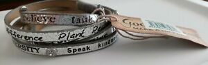 NWT GOOD WORKS MAKE A DIFFERENCE Leather Rivets Wrap Around Bracelet Silver BOHO