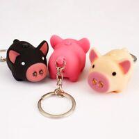 Schweinchen Schlüsselanhänger Figur mit LED Taschenlampe Sound-Schwein DE
