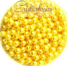 Lot de 100 Perles ronde nacré acrylique jaune 6 mm