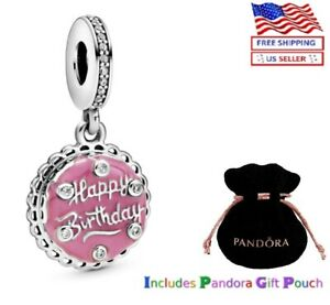 New Authentic PANDORA S925 ALE Pink Birthday Cake Dangle Charm 798888C01