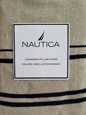 New Nautica Newport Pique Khaki Navy Blue Stripe Standard Pillow Sham