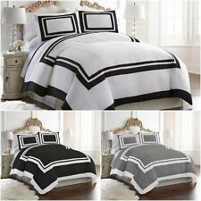 Chezmoi Collection 3-Piece Hotel Style Bordered Square Pattern Duvet Cover Set