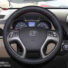 Black Leather Hand-stitched Car Steering Wheel Cover for Hyundai IX35