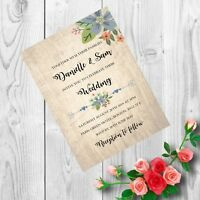 Personalised Handmade Wedding Invitations Invites Day Evening Vintage x 50 AW25