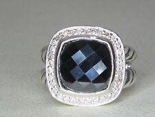 DAVID YURMAN ALBION 11MM HEMATINE DIAMOND STERLING SILVER RING -CLASSIC