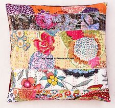 Multicolor Kantha Zig Zag Pillow Cushion Cover Patchwork Stitch Pillow Case 16""