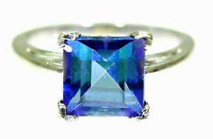 Princess Neptune Topaz 14K 14ct White Gold Ring size N ~ 6 3/4