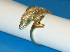 Cute~ Womans 4.4 g 14K Yellow Gold Dolphin Porpoise Ring Emerald Eyes Size 7-1/8