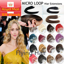 """14""""-26"""" Micro Loop Ring Beads Nano Russian Remy Human Hair Extensions 100s UKS"""