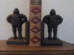 PAIR RETRO VINTAGE CAST IRON MICHELIN MAN BOOKENDS DISPLAY STORAGE GIFTWARE FAB
