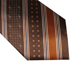 "NEW BRIONI COPPER BROWN BLACK TONES FANCY ""B"" STRIPES 100% SILK MENS NECK TIE"