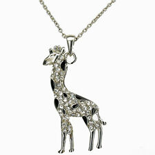 Giraffe Animal Zoo Pendant Necklace Jewelry Austrian Crystal Clear Enamel Black