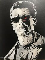 The Terminator Arnold Schwarzenegger Judgement Day Cameron hand painted fan art