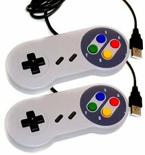 2 x Retrò SUPER NINTENDO SNES CONTROLLER USB jopypads per Win PC / MAC gamepads