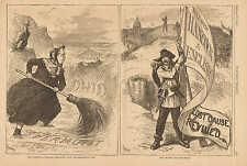 Political Cartoon, Hancock & English, Lost Cause Revived, Negro Vote, 1880 Print