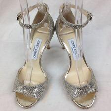 JIMMY CHOO Tori 85 embellished glittered leather sandals 36
