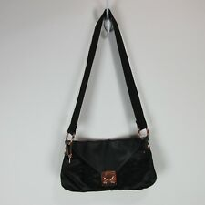 Bolzano Pink Gold Black Pebbled Leather Trim Flap Nylon Quilt Shoulder Bag Purse