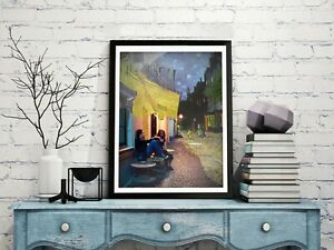"""Van Gogh's Café Terrace at Night and Celine and Jessie  Poster 19,6x23,6"""""""