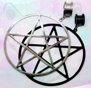 Steel Black Pentagram Wicca Star Witch Goth Pendant Dangle Ear Plug Tunnel Big