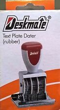 Deskmate Received + Date Rubber Text Die Plate Stamp Date Genuine Free Postage