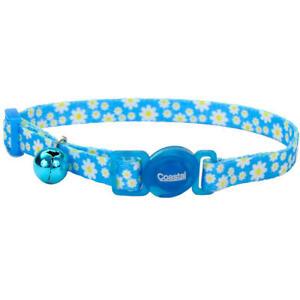 "Safe Cat Fashion Adjustable Breakaway Collar 3/8""x 08""-12"" Daisy Blue"