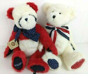 "Boyds Bears Franklin B Bearsley 18"" Bear of Month Patriotic Panda and Teddy SET"