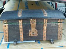 Vintage Wooden Pirate Treasure Chest Trinket Jewelry Box
