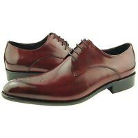 Carrucci Plain Medallion Derby, Men's Dress Leather Oxford Shoes, Burgundy