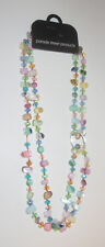 "Pink Blue Crystal and Shell Necklace 47.25"" Beads Aria Lights Free Twist Clip"