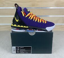 "Nike Lebron XVI ""MARTIN""  Court Purple Yellow Shoes CI1520-500 Men's Size 8.5"