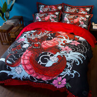 Chinese Dragon mythical Bedding set Duvet/Quilt Cover Pillowcase Bedroom Cartoon