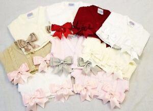NEW Girls Spanish Romany Bow Bolero Cardigan Pink White Red Ivory Blue 0-4 Years