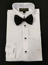 Boys tuxedo shirt with matching black bow tie french plackets and Fancy studs