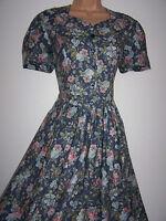 Laura Ashley vintage petrol-blue wild rose bouquet summer tea dress, size 14 UK