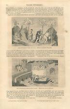 Etna sicile Jésus miniature Livre des Merveilles de John Mandeville GRAVURE 1859