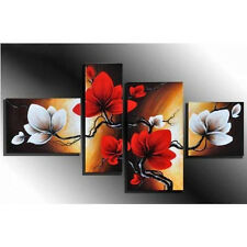 Red Spring Flower Oil Painting 4pc Frame Canvas Wall Art Home Decor Living Room