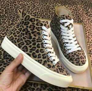 New Women's Leather Ankle Boots, Leopard Print High-Top Lace-Up Casual Boots