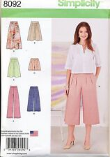 SIMPLICITY SEWING PATTERN 8092 MISSES SZ 14-22 CULOTTES, PANTS, SKIRTS & SHORTS