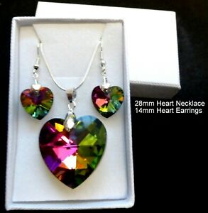 Rainbow Crystal Heart Necklace and Earring set in gift box & gift bag