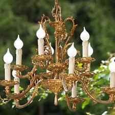 antiker Etagen Luster 10-flm. goldener Kronleuchter Bronze Leuchter Hängelampe