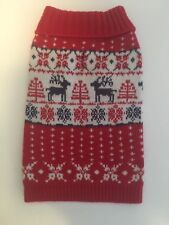 Blueberry Pet Vintage Fancy Reindeer Holiday Festive Dog Sweater XS 8""