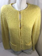 Women Sweater Regular Yellow Button Down Long Sleeve Scoop Neck Size M Knitted