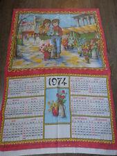 calendrier tissus enfants aux fleurs ,sonacott ,1974