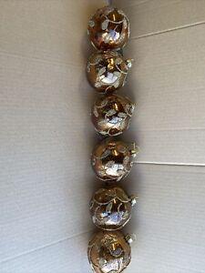 Set x6 Gisela Graham Bronze Mercury Glass Christmas Tree Hanging Baubles 8cm-561