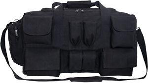 Black Canvas Tactical Multi Pocketed Gear Bag Shoulder Carry Bag