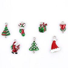 14pcs Wholesale Mixed Christmas Enamel Charms Alloy Pendants Fit Decoration J