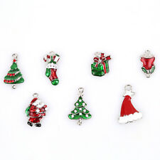 14pcs Enamel Mixed 7 Christmas Jewelry Alloy Charms Pendants Fit Decoration L